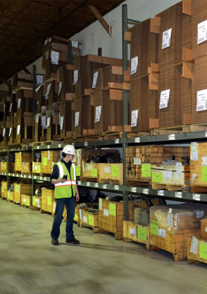 warehouse worker inspecting